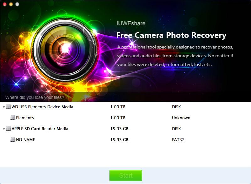 Mac Free Digital Camera Photo Recovery full screenshot