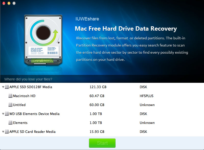 Mac Free Hard Drive Data Recovery 1.9.9.9 full